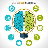 foto of hemisphere  - Creative brain infographics set with hemispheres in lightbulb and intelligence and creativity symbols vector illustration - JPG