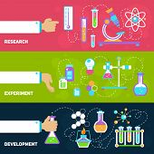 picture of experiments  - Chemistry decorative horizontal banners set with research experiment development isolated vector illustration - JPG
