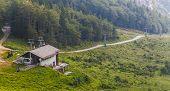 foto of mountain chain  - Slovenia ski vacation resort. Karavanke mountain chain. ** Note: Visible grain at 100%, best at smaller sizes - JPG