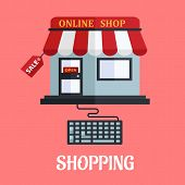 picture of awning  - Online shopping flat vector illustration with a computer keyboard attached to a colorful online store with a sale tag and awning over pink - JPG