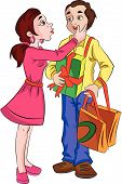 foto of sweethearts  - Man with Presents for His Sweetheart vector illustration - JPG