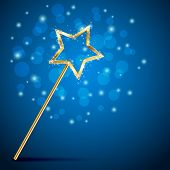 picture of magic-wand  - Golden magic wand on blue background illustration - JPG