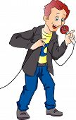 pic of emcee  - Man Holding and Talking on a Microphone vector illustration - JPG