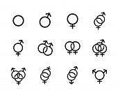picture of hetero  - Vector black Sexual orientation icons set isolated on a white background - JPG
