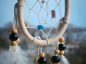 image of dreamcatcher  - Wooden Dreamcatcher with feathers and beads  - JPG
