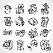 foto of blender  - Kitchen equipment and appliances sketch decorative icons set with toaster coffee machine blender isolated vector illustration - JPG