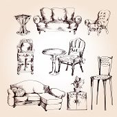 pic of interior sketch  - Furniture sketch decorative icons set of chair table sofa isolated vector illustration - JPG
