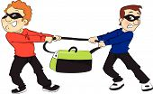 image of stolen  - Vector illustration of two thieves pulling a stolen bag in opposite direction - JPG