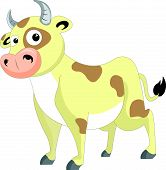 picture of carabao  - Cute cow yellow with brown patches vector illustration - JPG