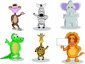 stock photo of gator  - A monkey and a zebra waving their hand a fat elephant smiling intelligent gator waving giraffe and a lion holding a sign all in vector illustration cartoon - JPG