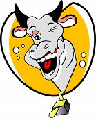 stock photo of carabao  - Funny Winking Cow with a Bubbly Personality vector illustration - JPG