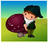 stock photo of gnome  - Gnome Leaning on a Mushroom vector illustration - JPG