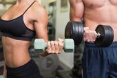 picture of section  - Close up mid section of a couple exercising with dumbbells in the gym - JPG