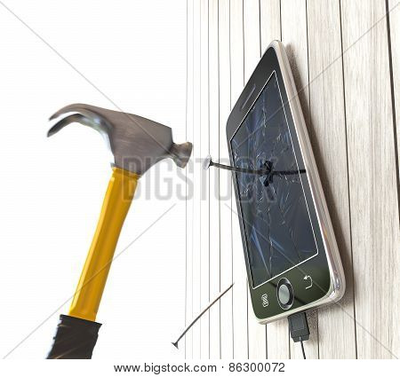 hammer and digital tablet on wooden desk with nails concept background