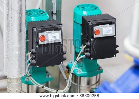 Close-up photo of water pumps