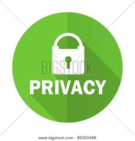 privacy green flat icon