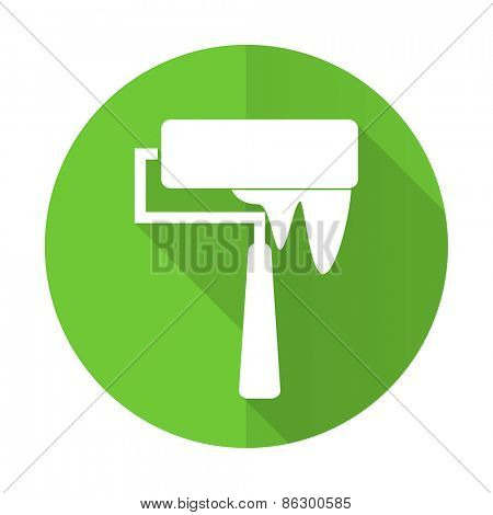 brush green flat icon paint sign
