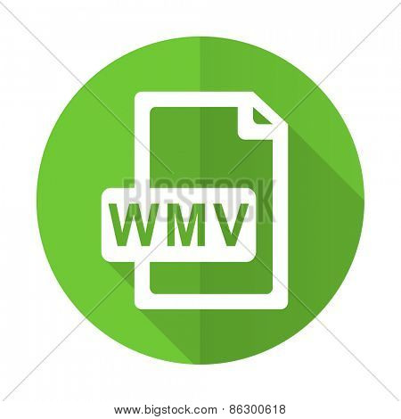 wmv file green flat icon