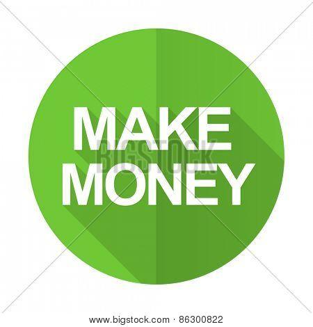 make money green flat icon