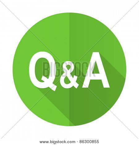 question answer green flat icon