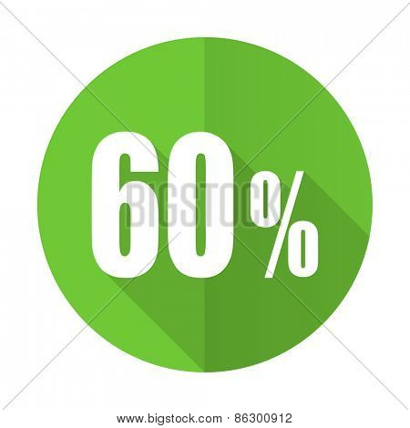 60 percent green flat icon sale sign
