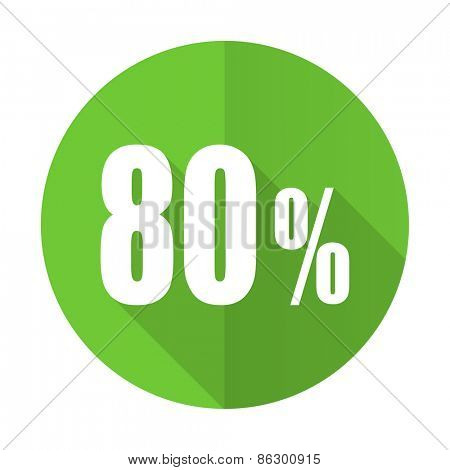 80 percent green flat icon sale sign