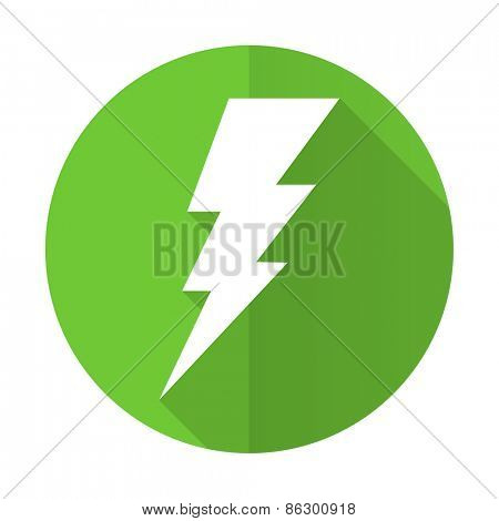 bolt green flat icon flash sign