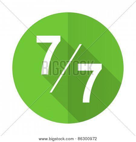 7 per 7 green flat icon