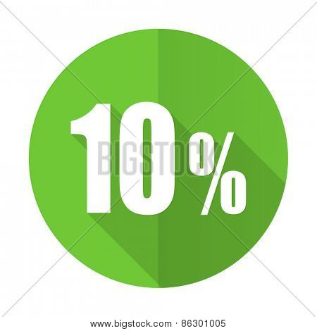 10 percent green flat icon sale sign
