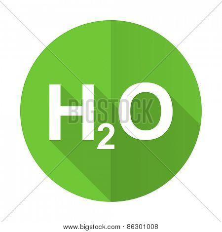 water green flat icon h2o sign