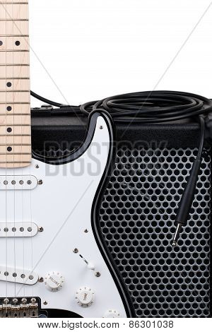 Guitar With Amplifier And Audio Cord