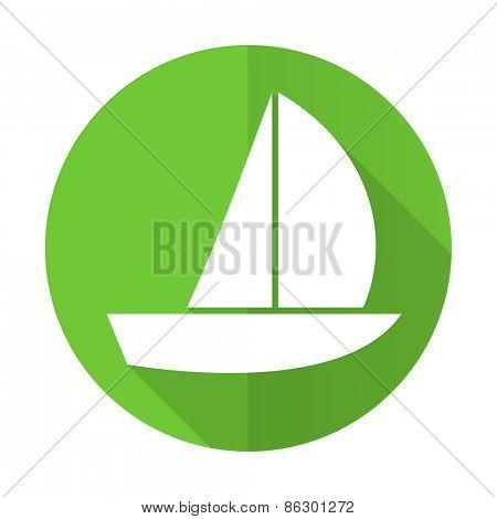 yacht green flat icon sail sign