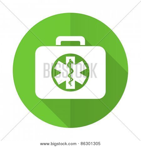 rescue kit green flat icon emergency sign