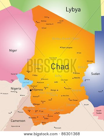 Vector color map of Chad