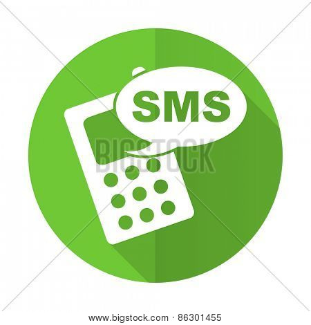 sms green flat icon phone sign