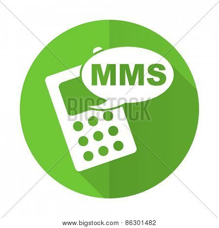 mms green flat icon phone sign
