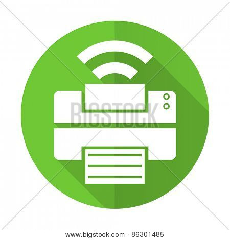 printer green flat icon wireless print sign