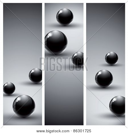 Banners With Dark Abstract Backgrounds.