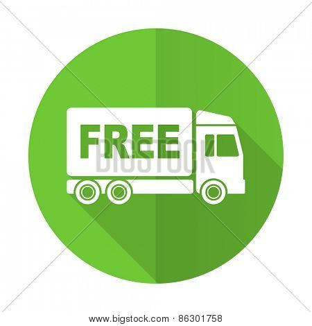 free delivery green flat icon transport sign