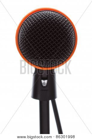 Black Microphone With Cable On Stand