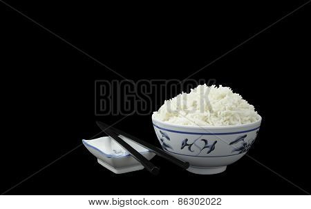 Natural Organic Cooked Rice Isolated On Black