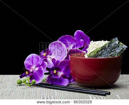 Dried Saimin And Nori Seaweed with Hawaiian Orchid Flowers
