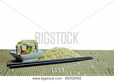 Natural Organic Raw Rice And Avocado Sushi With Clipping Path