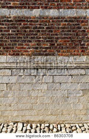 A textured brick wall