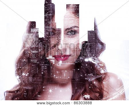Double exposure of a beautiful girl and night cityscape