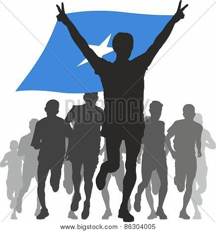 Athlete With The Somalia Flag At The Finish.eps