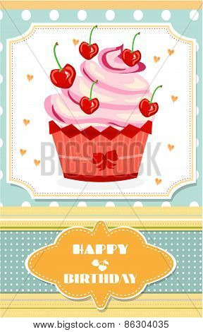 Dotted birthday card with red cupcake with cream, hearts and cherries, text Happy Birthday