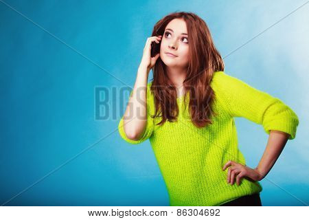 Teenage Girl With Mobile Phone Talking