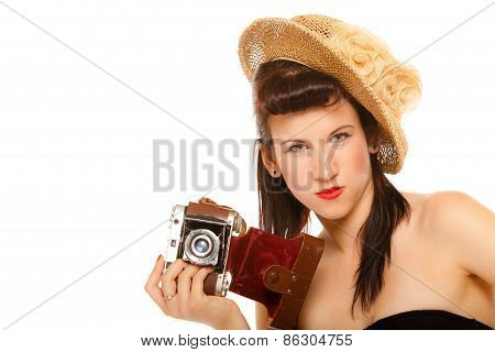 Lovely Teen Girl With Old Camera
