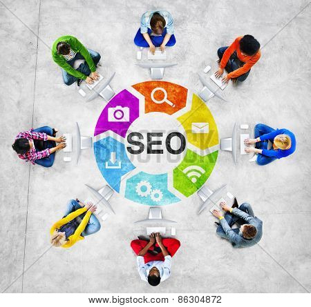 People Social Networking and SEO Concept